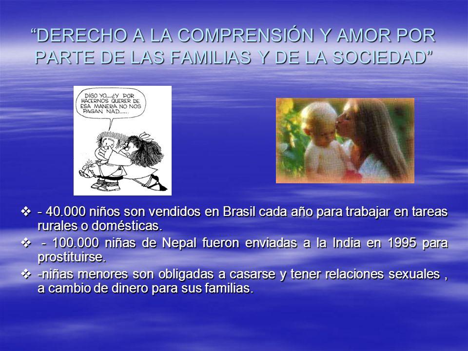 DERECHO A LA COMPRENSIÓN Y AMOR POR PARTE DE LAS FAMILIAS Y DE LA SOCIEDAD - 40.000 niños son vendidos en Brasil cada año para trabajar en tareas rura