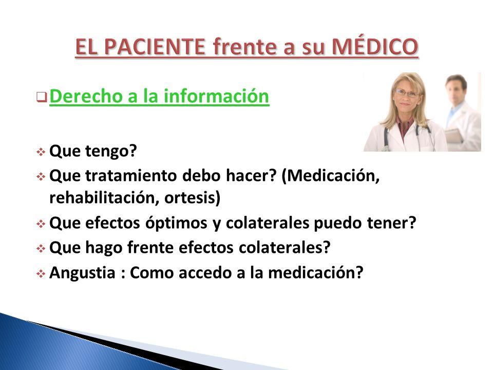 Derecho a la información Que tengo? Que tratamiento debo hacer? (Medicación, rehabilitación, ortesis) Que efectos óptimos y colaterales puedo tener? Q
