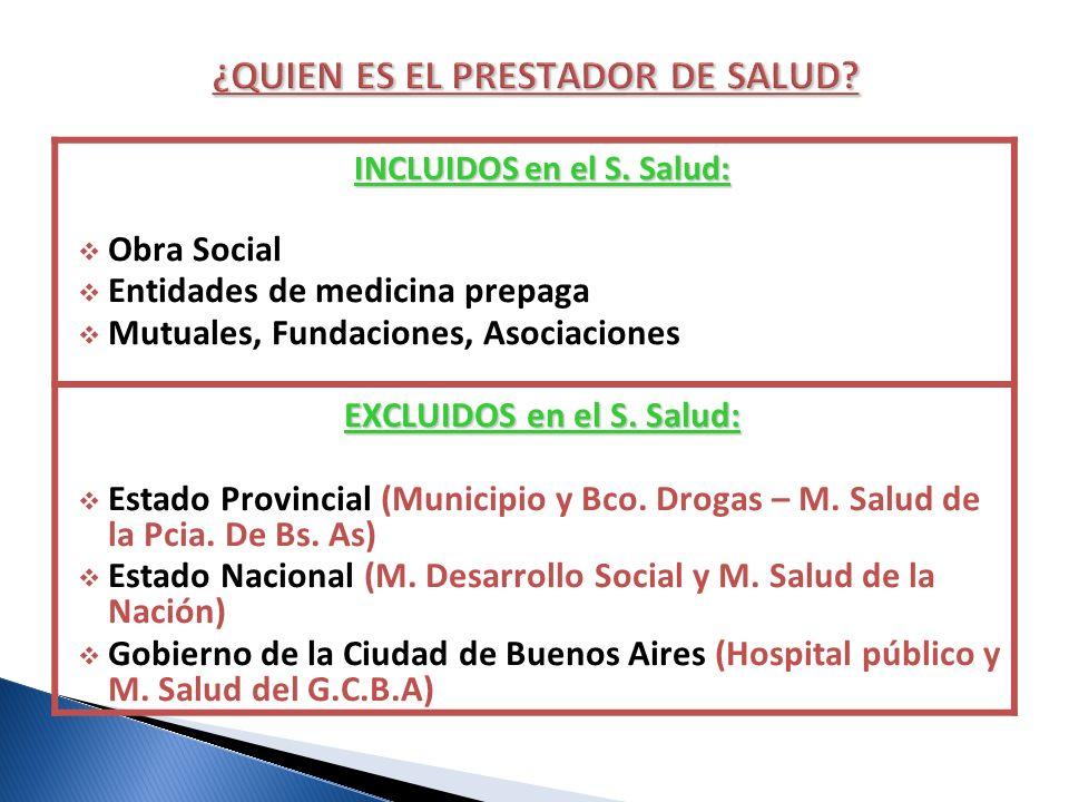 INCLUIDOS en el S. Salud: Obra Social Entidades de medicina prepaga Mutuales, Fundaciones, Asociaciones EXCLUIDOS en el S. Salud: Estado Provincial (M