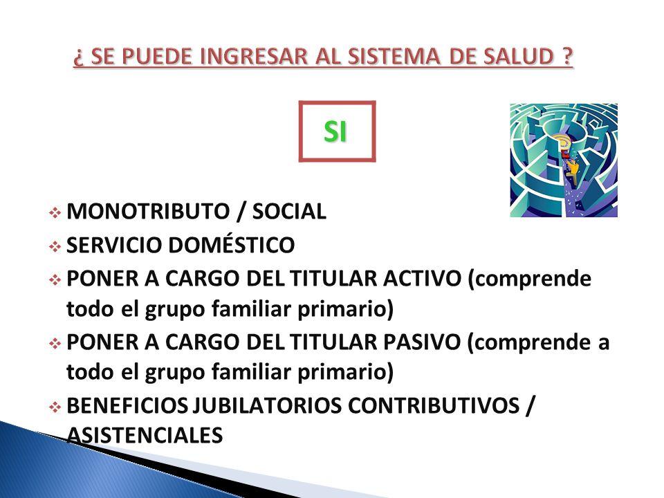 SI MONOTRIBUTO / SOCIAL SERVICIO DOMÉSTICO PONER A CARGO DEL TITULAR ACTIVO (comprende todo el grupo familiar primario) PONER A CARGO DEL TITULAR PASI
