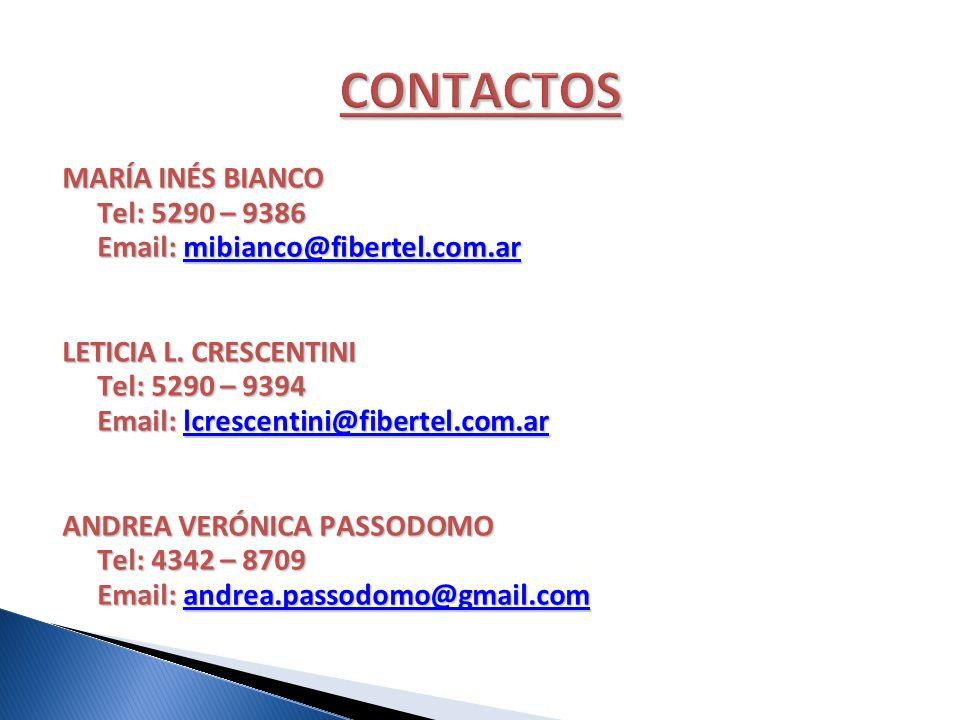 MARÍA INÉS BIANCO Tel: 5290 – 9386 Tel: 5290 – 9386 Email: mibianco@fibertel.com.ar Email: mibianco@fibertel.com.armibianco@fibertel.com.ar LETICIA L.