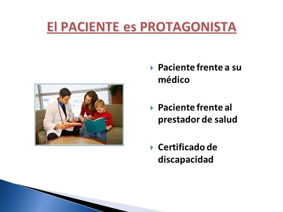Paciente frente a su médico Paciente frente al prestador de salud Certificado de discapacidad