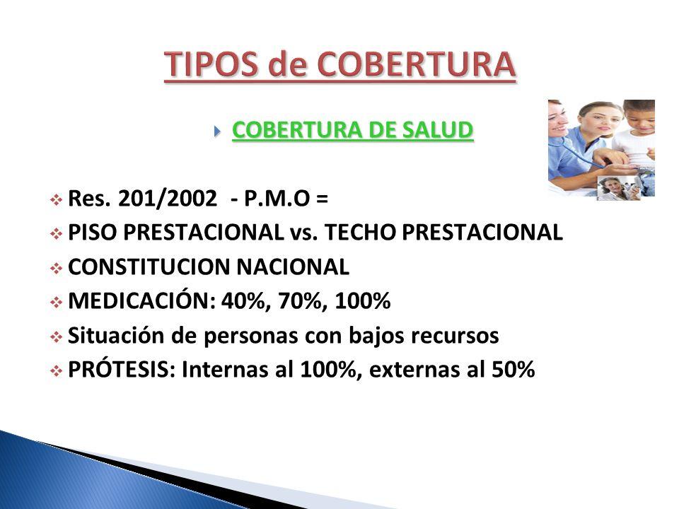 COBERTURA DE SALUD COBERTURA DE SALUD Res. 201/2002 - P.M.O = PISO PRESTACIONAL vs. TECHO PRESTACIONAL CONSTITUCION NACIONAL MEDICACIÓN: 40%, 70%, 100