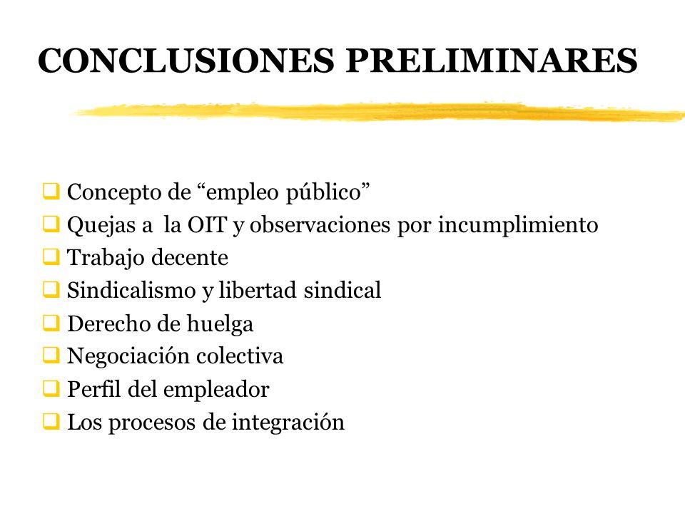 CONCLUSIONES PRELIMINARES Concepto de empleo público Quejas a la OIT y observaciones por incumplimiento Trabajo decente Sindicalismo y libertad sindic