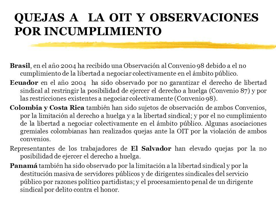 QUEJAS A LA OIT Y OBSERVACIONES POR INCUMPLIMIENTO Brasil, en el año 2004 ha recibido una Observación al Convenio 98 debido a el no cumplimiento de la