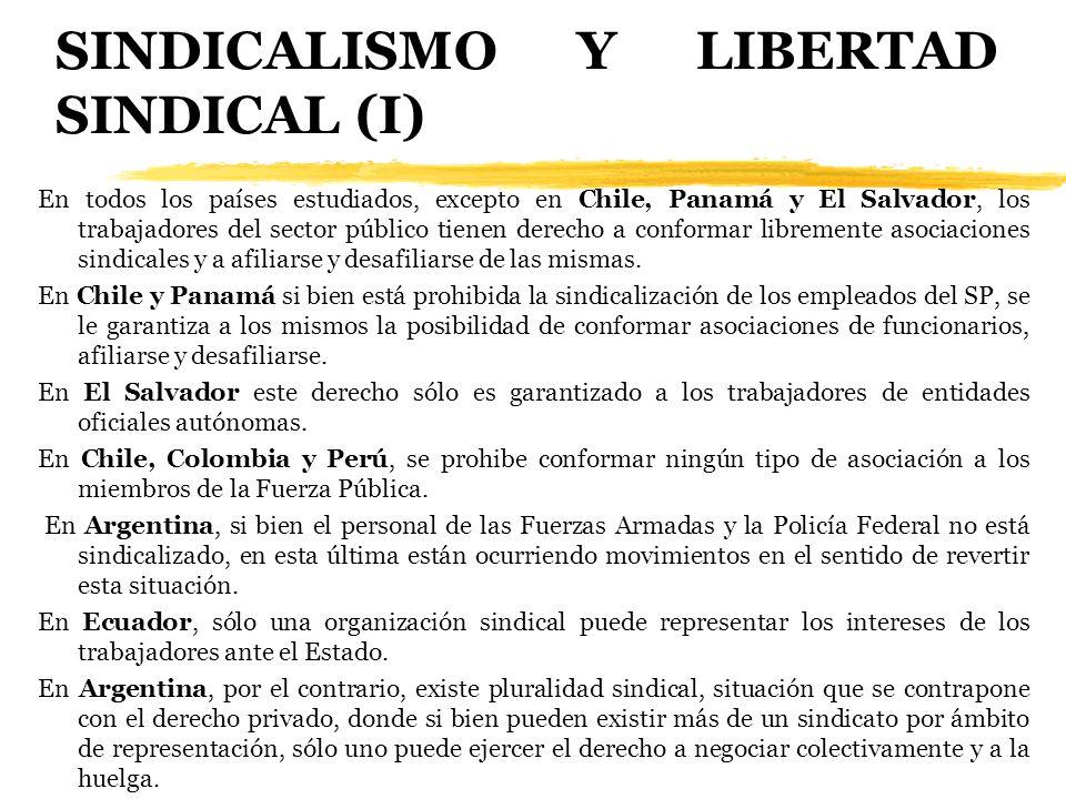 SINDICALISMO Y LIBERTAD SINDICAL (I) En todos los países estudiados, excepto en Chile, Panamá y El Salvador, los trabajadores del sector público tiene