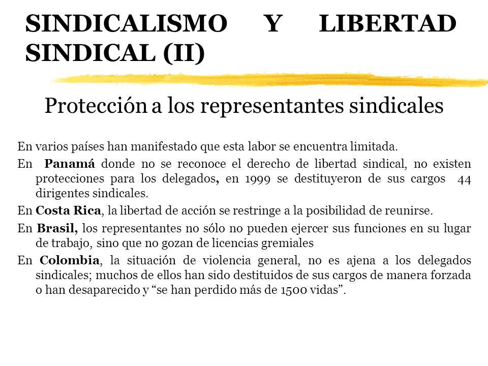 SINDICALISMO Y LIBERTAD SINDICAL (II) Protección a los representantes sindicales En varios países han manifestado que esta labor se encuentra limitada
