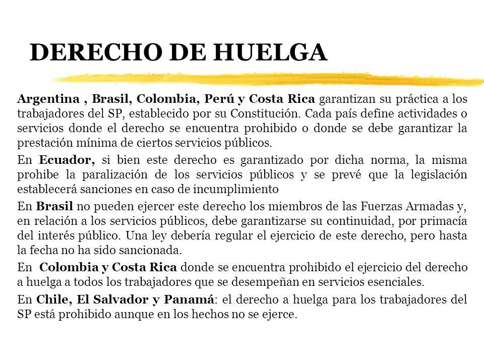 DERECHO DE HUELGA Argentina, Brasil, Colombia, Perú y Costa Rica garantizan su práctica a los trabajadores del SP, establecido por su Constitución. Ca