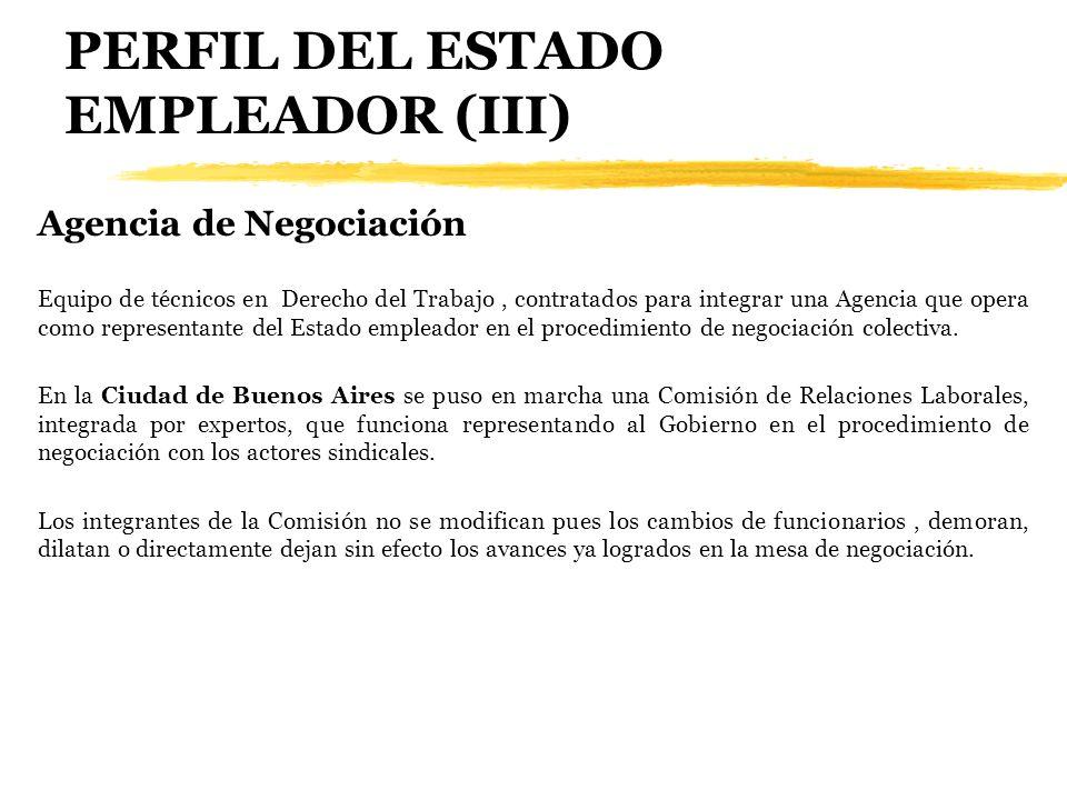 PERFIL DEL ESTADO EMPLEADOR (III) Agencia de Negociación Equipo de técnicos en Derecho del Trabajo, contratados para integrar una Agencia que opera co