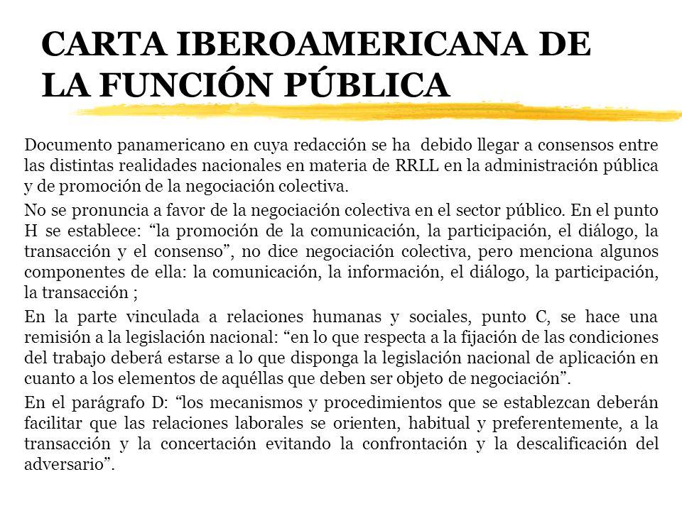 CARTA IBEROAMERICANA DE LA FUNCIÓN PÚBLICA Documento panamericano en cuya redacción se ha debido llegar a consensos entre las distintas realidades nac