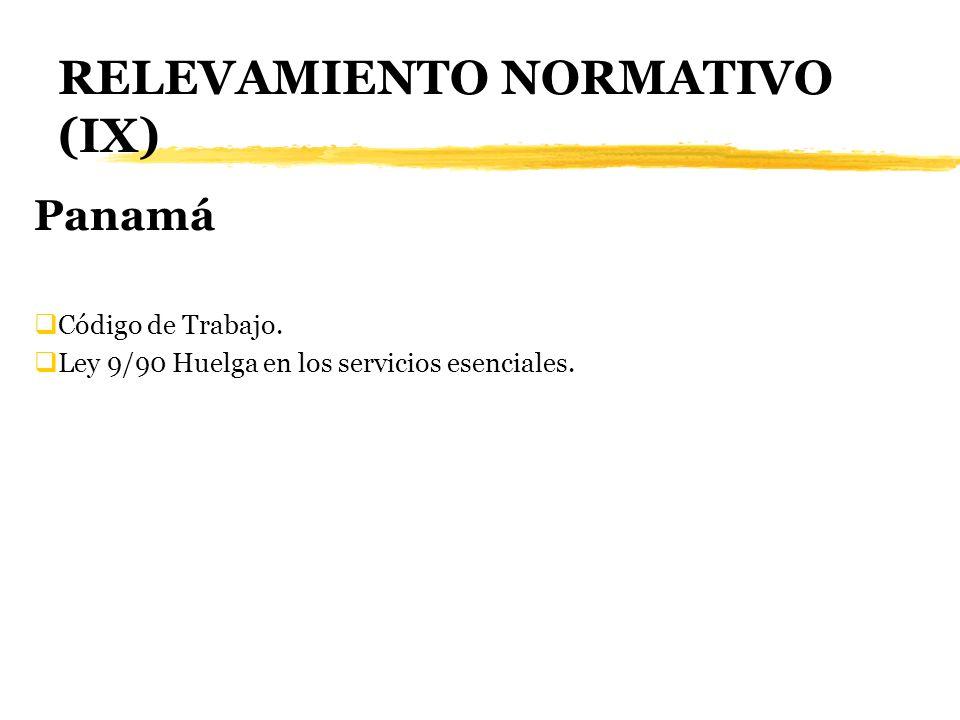 RELEVAMIENTO NORMATIVO (IX) Panamá Código de Trabajo. Ley 9/90 Huelga en los servicios esenciales.