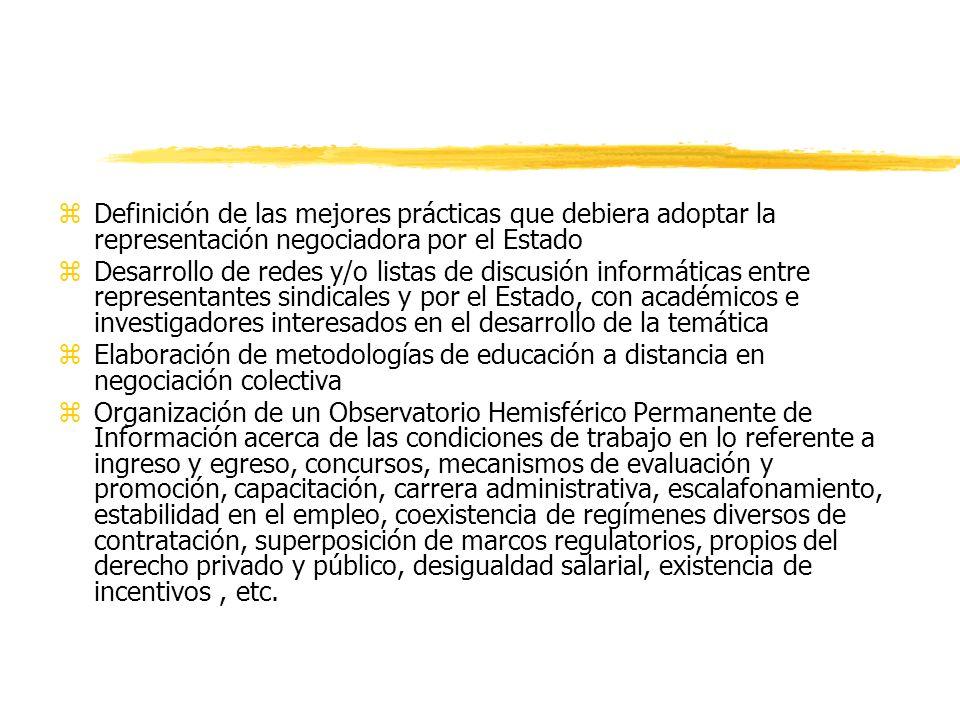 zDefinición de las mejores prácticas que debiera adoptar la representación negociadora por el Estado zDesarrollo de redes y/o listas de discusión info