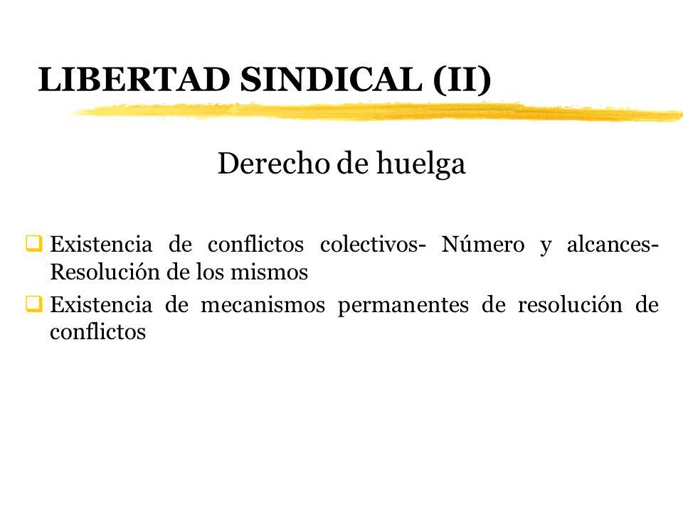 LIBERTAD SINDICAL (II) Derecho de huelga Existencia de conflictos colectivos- Número y alcances- Resolución de los mismos Existencia de mecanismos per