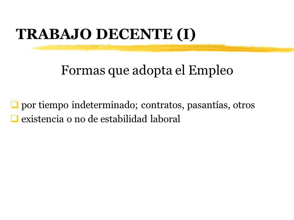 TRABAJO DECENTE (I) Formas que adopta el Empleo por tiempo indeterminado; contratos, pasantías, otros existencia o no de estabilidad laboral