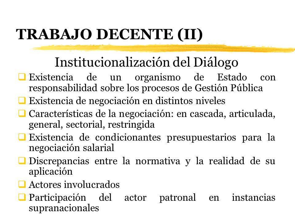TRABAJO DECENTE (II) Institucionalización del Diálogo Existencia de un organismo de Estado con responsabilidad sobre los procesos de Gestión Pública E