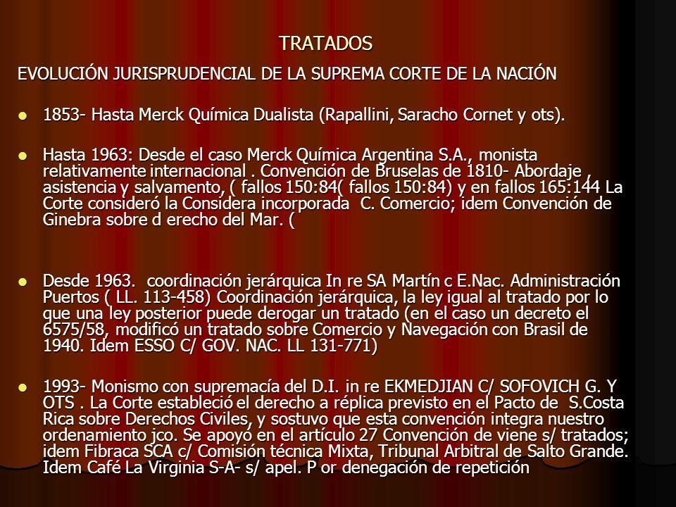 TRATADOS EVOLUCIÓN JURISPRUDENCIAL DE LA SUPREMA CORTE DE LA NACIÓN 1853- Hasta Merck Química Dualista (Rapallini, Saracho Cornet y ots). 1853- Hasta