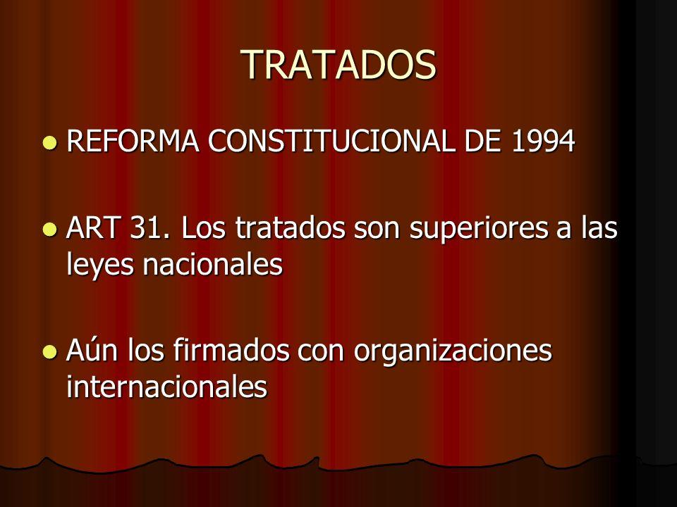 TRATADOS REFORMA CONSTITUCIONAL DE 1994 REFORMA CONSTITUCIONAL DE 1994 ART 31. Los tratados son superiores a las leyes nacionales ART 31. Los tratados