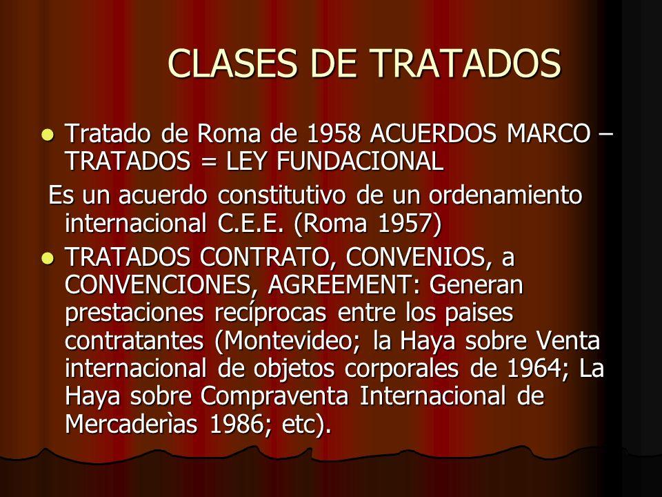CLASES DE TRATADOS Tratado de Roma de 1958 ACUERDOS MARCO – TRATADOS = LEY FUNDACIONAL Tratado de Roma de 1958 ACUERDOS MARCO – TRATADOS = LEY FUNDACI