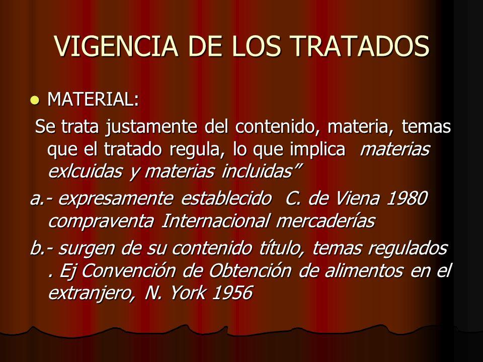 VIGENCIA DE LOS TRATADOS MATERIAL: MATERIAL: Se trata justamente del contenido, materia, temas que el tratado regula, lo que implica materias exlcuida
