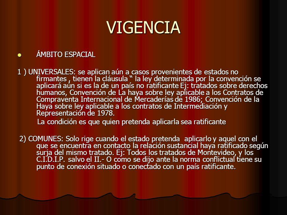 VIGENCIA ÁMBITO ESPACIAL ÁMBITO ESPACIAL 1 ) UNIVERSALES: se aplican aún a casos provenientes de estados no firmantes, tienen la cláusula la ley deter
