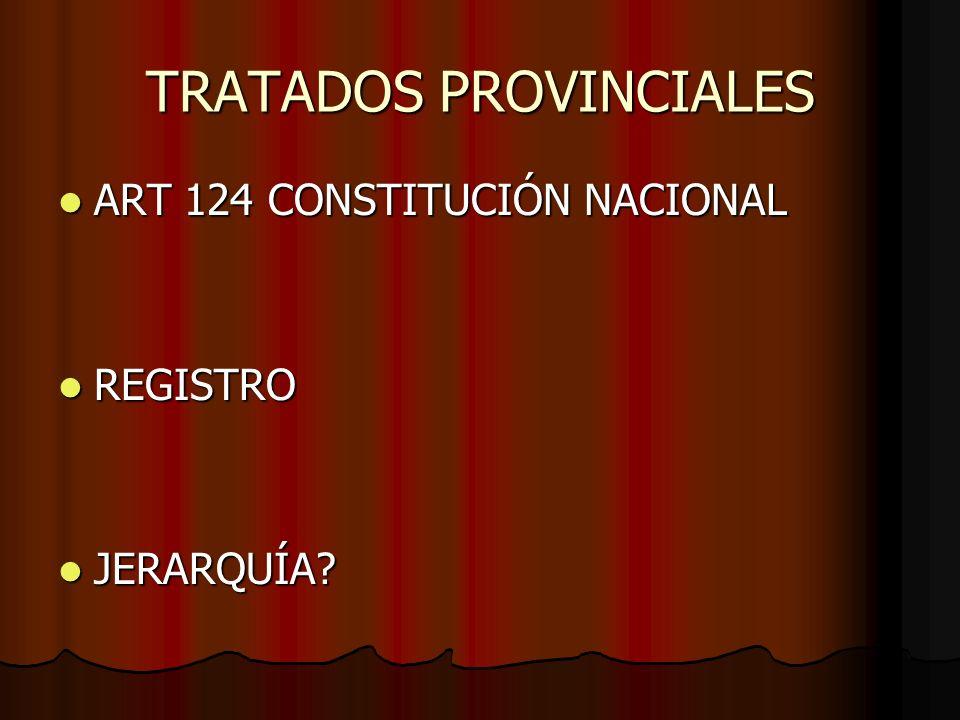 TRATADOS PROVINCIALES ART 124 CONSTITUCIÓN NACIONAL ART 124 CONSTITUCIÓN NACIONAL REGISTRO REGISTRO JERARQUÍA? JERARQUÍA?