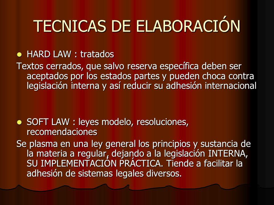 TECNICAS DE ELABORACIÓN HARD LAW : tratados HARD LAW : tratados Textos cerrados, que salvo reserva específica deben ser aceptados por los estados part