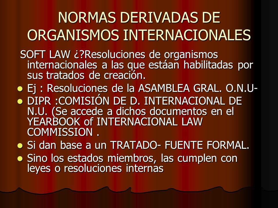 NORMAS DERIVADAS DE ORGANISMOS INTERNACIONALES SOFT LAW ¿?Resoluciones de organismos internacionales a las que estáan habilitadas por sus tratados de
