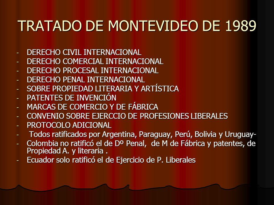 TRATADO DE MONTEVIDEO DE 1989 - DERECHO CIVIL INTERNACIONAL - DERECHO COMERCIAL INTERNACIONAL - DERECHO PROCESAL INTERNACIONAL - DERECHO PENAL INTERNA