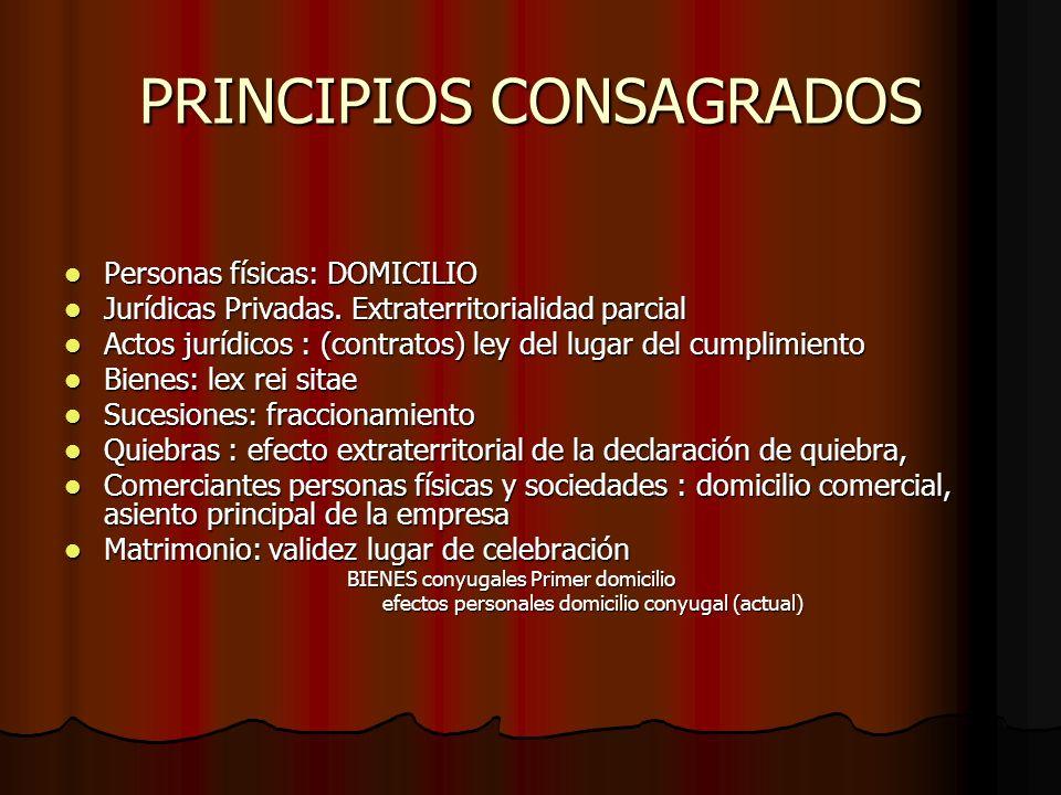 PRINCIPIOS CONSAGRADOS Personas físicas: DOMICILIO Personas físicas: DOMICILIO Jurídicas Privadas. Extraterritorialidad parcial Jurídicas Privadas. Ex