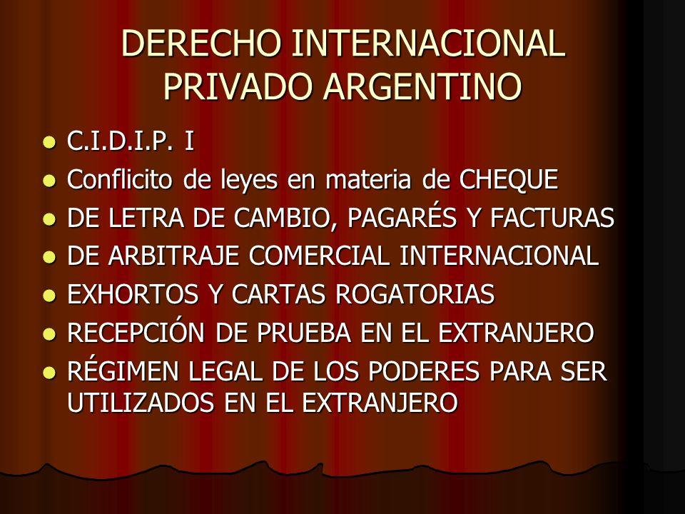 DERECHO INTERNACIONAL PRIVADO ARGENTINO C.I.D.I.P. I C.I.D.I.P. I Conflicito de leyes en materia de CHEQUE Conflicito de leyes en materia de CHEQUE DE
