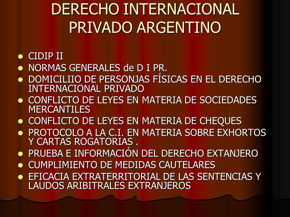 DERECHO INTERNACIONAL PRIVADO ARGENTINO CIDIP II CIDIP II NORMAS GENERALES de D I PR. NORMAS GENERALES de D I PR. DOMICILIIO DE PERSONJAS FÍSICAS EN E