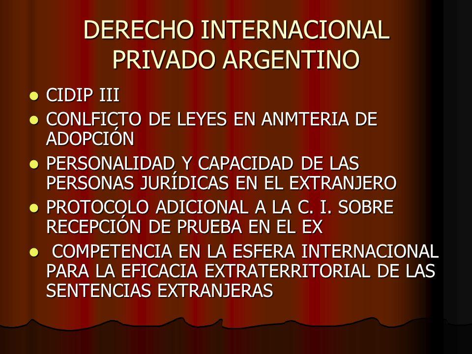 DERECHO INTERNACIONAL PRIVADO ARGENTINO CIDIP III CIDIP III CONLFICTO DE LEYES EN ANMTERIA DE ADOPCIÓN CONLFICTO DE LEYES EN ANMTERIA DE ADOPCIÓN PERS