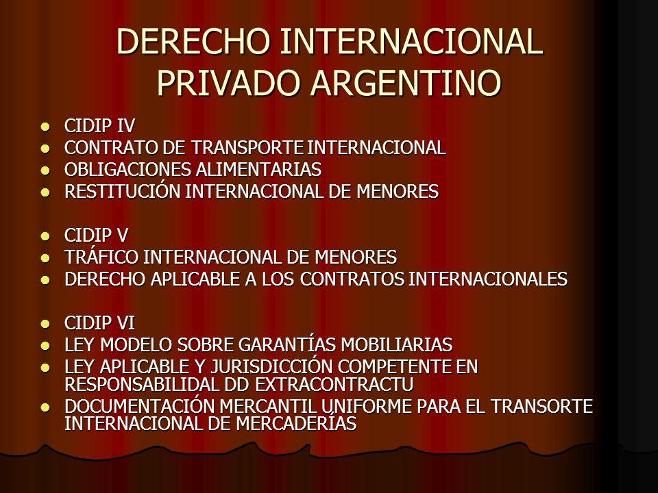 DERECHO INTERNACIONAL PRIVADO ARGENTINO CIDIP IV CIDIP IV CONTRATO DE TRANSPORTE INTERNACIONAL CONTRATO DE TRANSPORTE INTERNACIONAL OBLIGACIONES ALIME