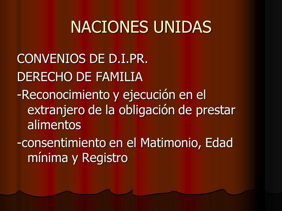 NACIONES UNIDAS CONVENIOS DE D.I.PR. DERECHO DE FAMILIA -Reconocimiento y ejecución en el extranjero de la obligación de prestar alimentos -consentimi