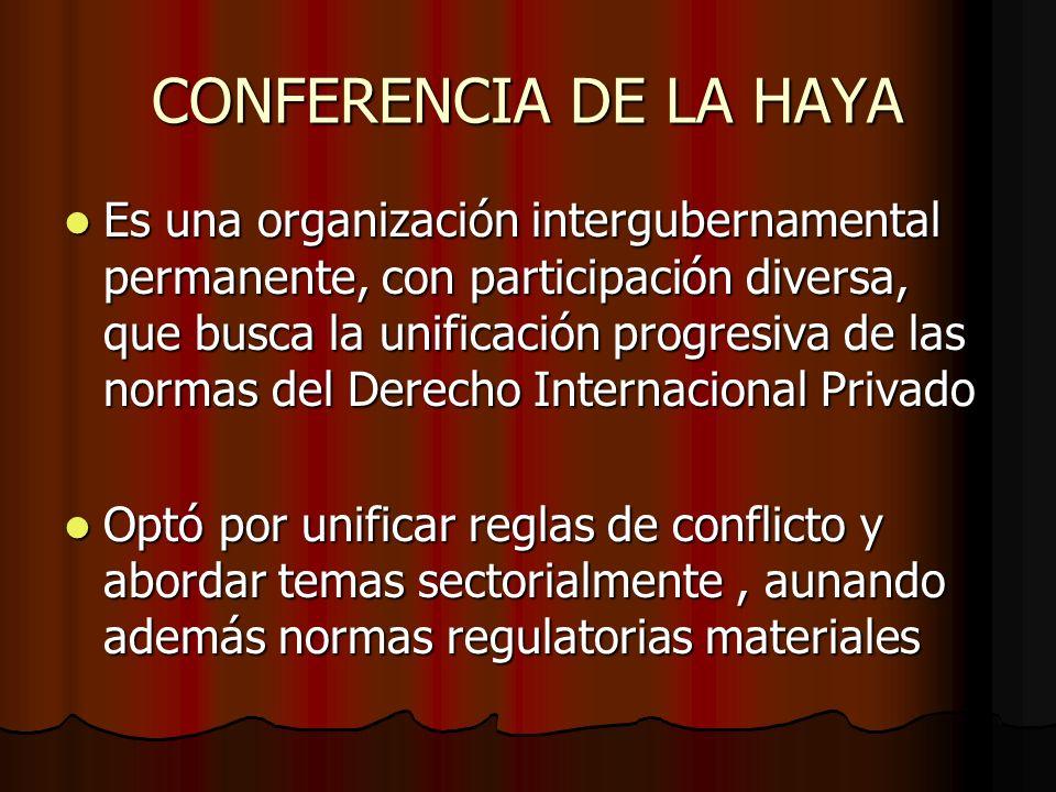 CONFERENCIA DE LA HAYA Es una organización intergubernamental permanente, con participación diversa, que busca la unificación progresiva de las normas