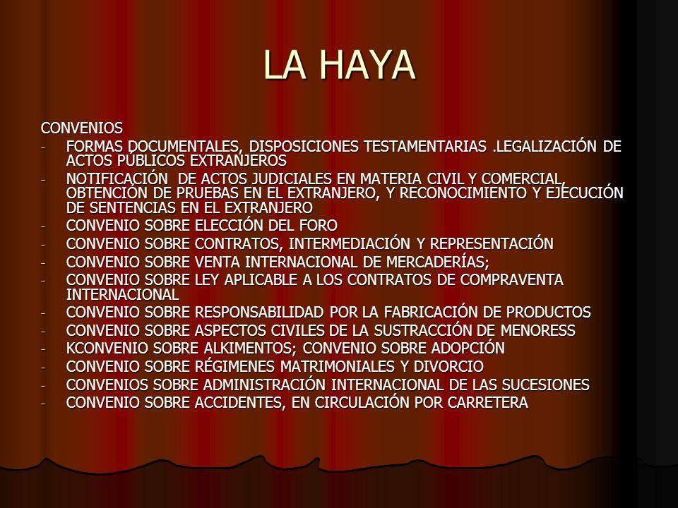 LA HAYA CONVENIOS - FORMAS DOCUMENTALES, DISPOSICIONES TESTAMENTARIAS.LEGALIZACIÓN DE ACTOS PÚBLICOS EXTRANJEROS - NOTIFICACIÓN DE ACTOS JUDICIALES EN