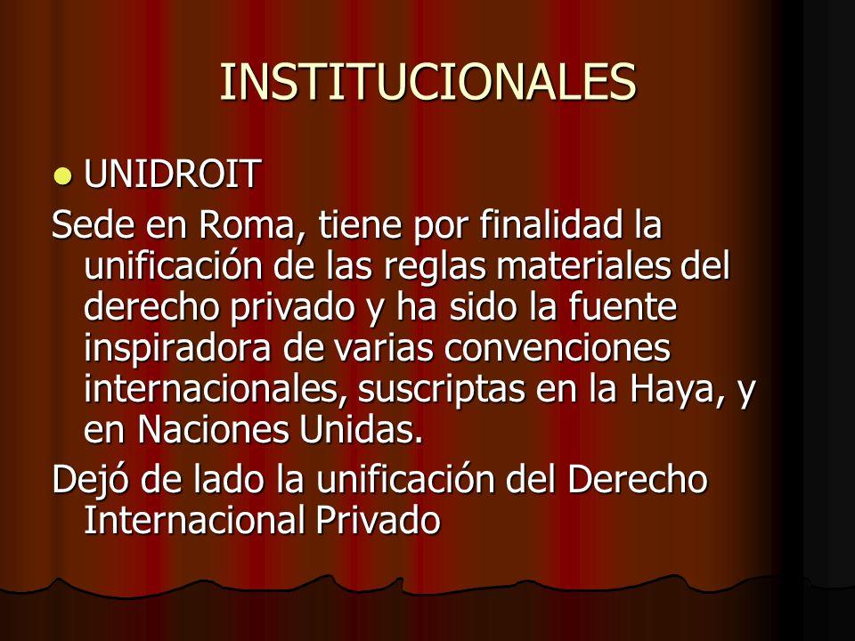 INSTITUCIONALES UNIDROIT UNIDROIT Sede en Roma, tiene por finalidad la unificación de las reglas materiales del derecho privado y ha sido la fuente in