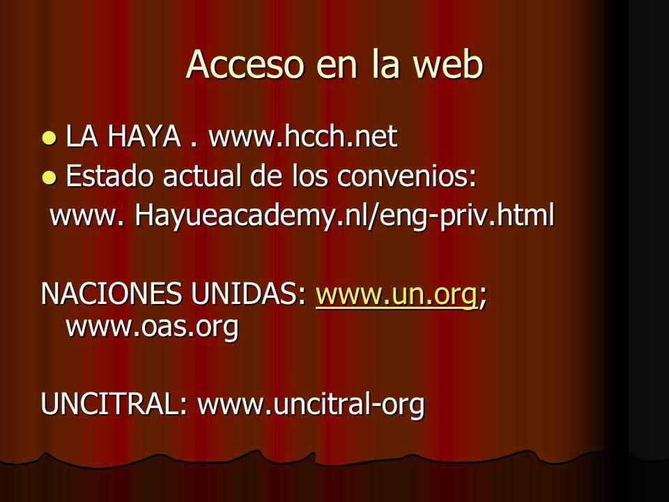 Acceso en la web LA HAYA. www.hcch.net LA HAYA. www.hcch.net Estado actual de los convenios: Estado actual de los convenios: www. Hayueacademy.nl/eng-