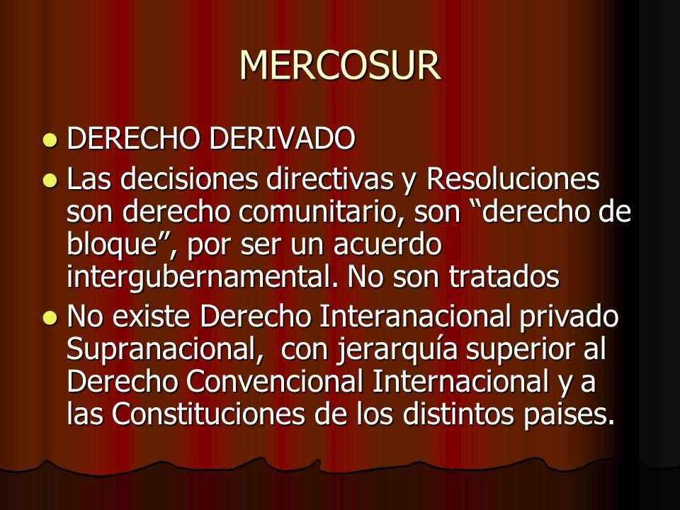 MERCOSUR DERECHO DERIVADO DERECHO DERIVADO Las decisiones directivas y Resoluciones son derecho comunitario, son derecho de bloque, por ser un acuerdo