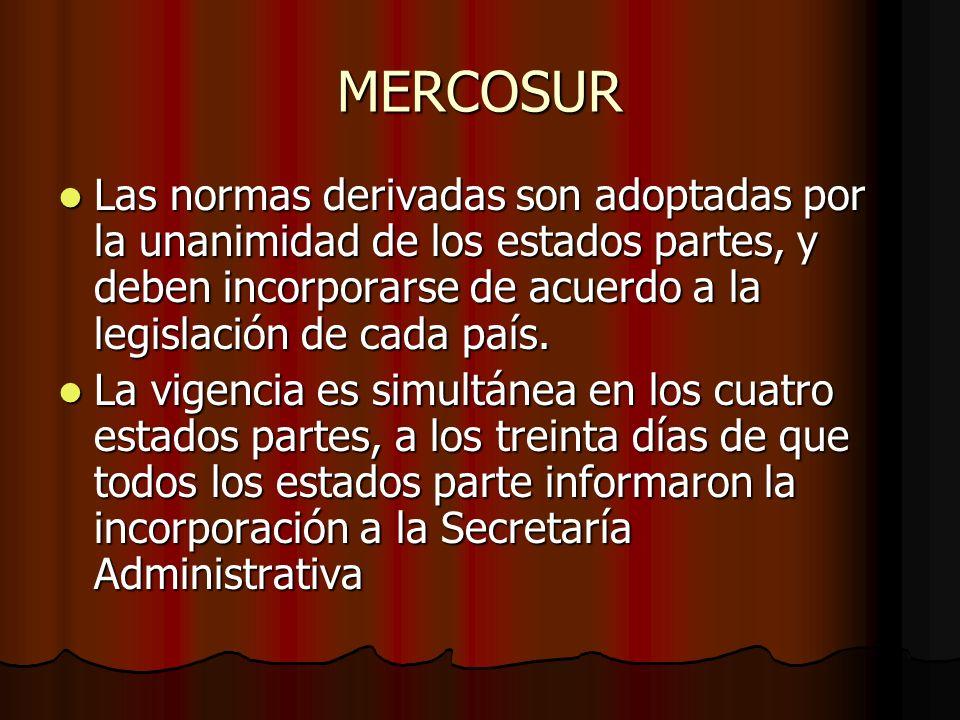 MERCOSUR Las normas derivadas son adoptadas por la unanimidad de los estados partes, y deben incorporarse de acuerdo a la legislación de cada país. La