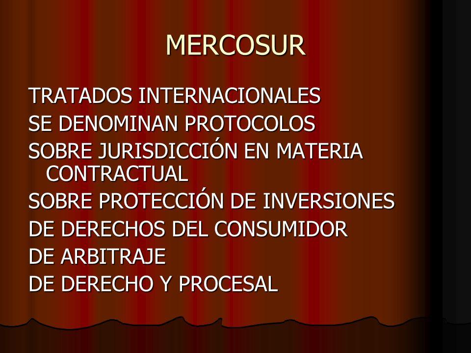 MERCOSUR TRATADOS INTERNACIONALES SE DENOMINAN PROTOCOLOS SOBRE JURISDICCIÓN EN MATERIA CONTRACTUAL SOBRE PROTECCIÓN DE INVERSIONES DE DERECHOS DEL CO