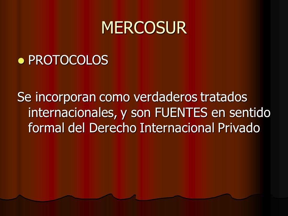 MERCOSUR PROTOCOLOS PROTOCOLOS Se incorporan como verdaderos tratados internacionales, y son FUENTES en sentido formal del Derecho Internacional Priva