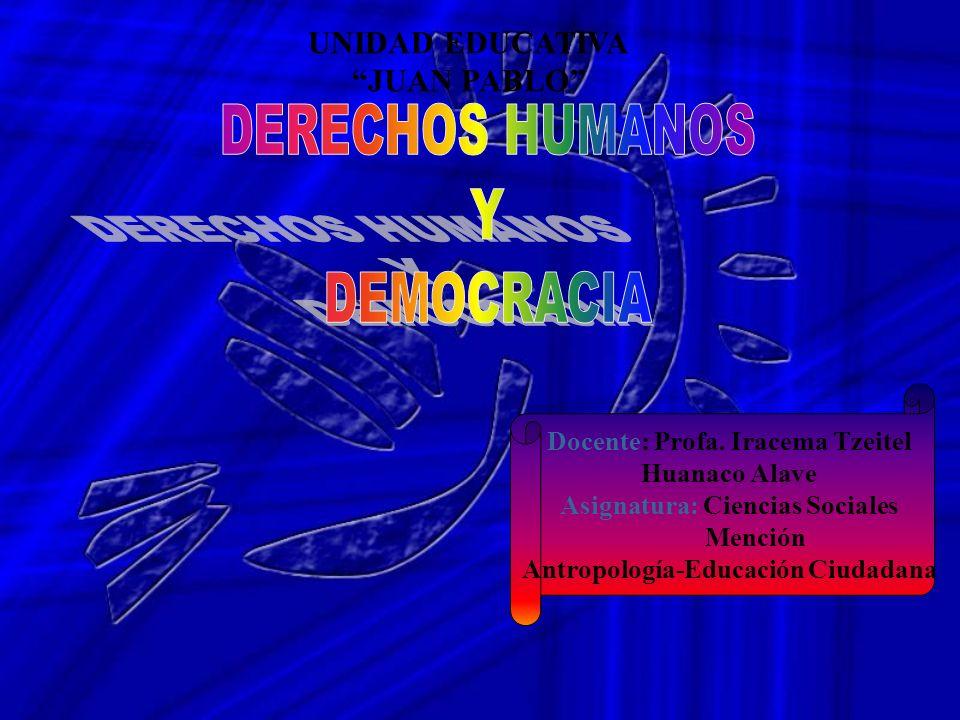 UNIDAD EDUCATIVA JUAN PABLO Docente: Profa. Iracema Tzeitel Huanaco Alave Asignatura: Ciencias Sociales Mención Antropología-Educación Ciudadana
