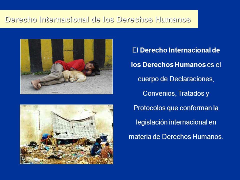 El Derecho Internacional de los Derechos Humanos es el cuerpo de Declaraciones, Convenios, Tratados y Protocolos que conforman la legislación internac