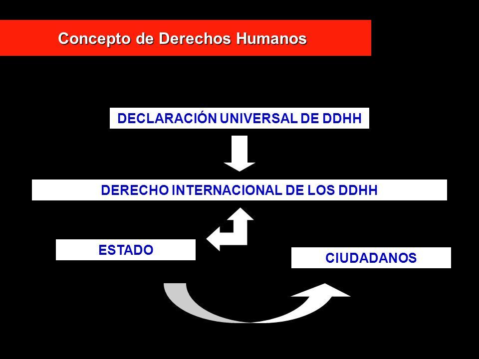Concepto de Derechos Humanos DECLARACIÓN UNIVERSAL DE DDHH DERECHO INTERNACIONAL DE LOS DDHH ESTADO CIUDADANOS