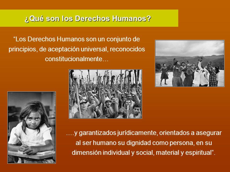 Los Derechos Humanos son un conjunto de principios, de aceptación universal, reconocidos constitucionalmente… ….y garantizados jurídicamente, orientad