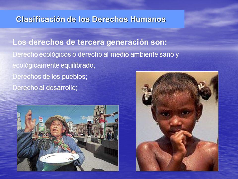 Derecho ecológicos o derecho al medio ambiente sano y ecológicamente equilibrado; Derechos de los pueblos; Derecho al desarrollo; Los derechos de terc