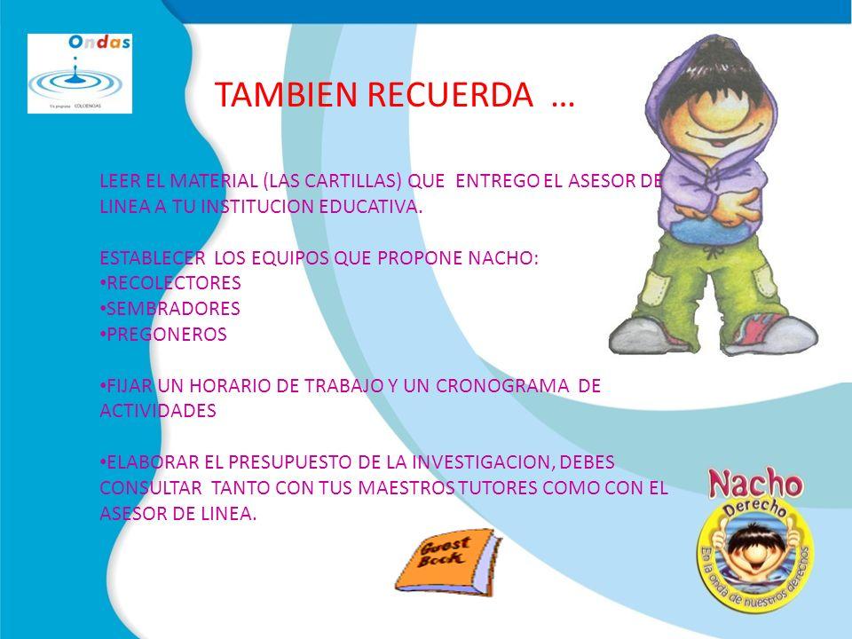 TAMBIEN RECUERDA … LEER EL MATERIAL (LAS CARTILLAS) QUE ENTREGO EL ASESOR DE LINEA A TU INSTITUCION EDUCATIVA.