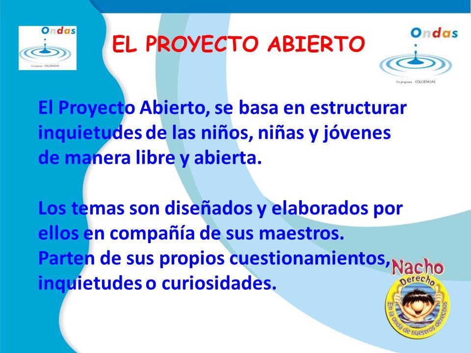 El Proyecto Abierto, se basa en estructurar inquietudes de las niños, niñas y jóvenes de manera libre y abierta.