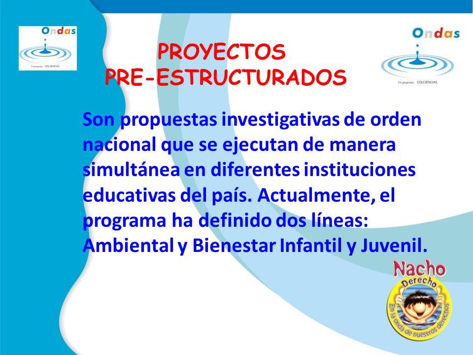 PROYECTOS PRE-ESTRUCTURADOS Son propuestas investigativas de orden nacional que se ejecutan de manera simultánea en diferentes instituciones educativas del país.